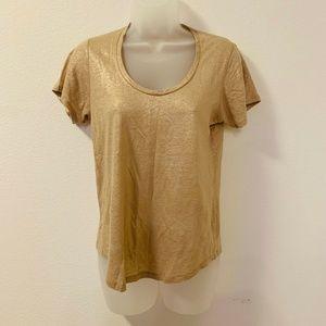 J.Crew Metallic Linen Scoop Neck T-Shirt Top Gold